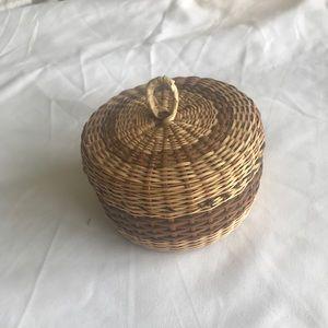 Small hand woven trinket basket